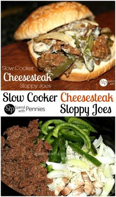 Slow Cooker Philly Cheesesteak Sloppy Joes (made with ground beef)! Peppers, onions & seasoned ground beef in the slow cooker, perfect to feed a crowd!!