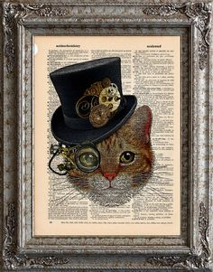 Cat with Steampunk Hat on Vintage Upcycled Dictionary Page. Creative, fun & interesting cat in a top hat wearing round steam punk glasses.  Great use of images. Printed this on a vintage book page made it wall worthy. This is great mixed media art.  Paper craft DIY.