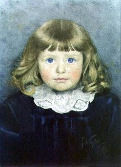 """https://flic.kr/p/tFY9YL   """"Portrait of Annie"""" 1889 Thomas Cooper Gotch   Thomas Cooper Gotch or T.C. Gotch (1854–1931) English Pre-Raphaelite painter and book illustrator. watercolour on paper 23.8x17.3 Private Collection"""