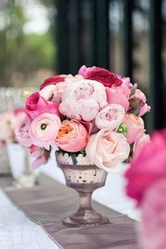 wedding silver compote bowl blush flowers - Google Search