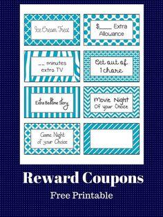 Free Printable: Reward Coupons for Kids Preschool Chore Charts, Preschool Chores, Chore Chart Kids, Reward System For Kids, Kids Rewards, Reward Coupons, Behavior Coupons, Rules For Kids, Chores For Kids