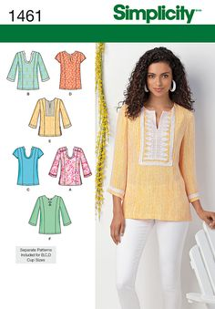 Simplicity 1461: Misses' & Plus Size top can be made with three quarter length or short sleeves, neckline and trim variations.