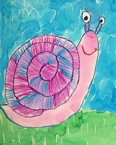 A quick, one day project I did with my firsties. Crayon Resist Pattern Snails.