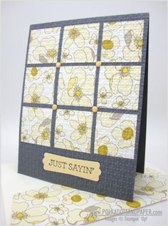 Stampin' Up! ... hand crafted quilt  card  ... squares of print paper cut and adhered divided grid ...embedded with embossing folder texture ... candy dots at crossing corners ... white, yellow, gray ...