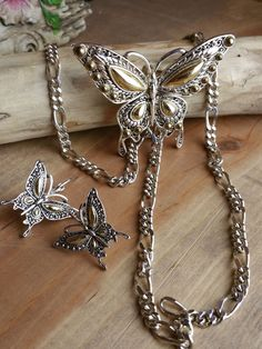 Estate Jewelry - Silver Butterfly Set