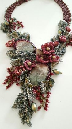 Cascading Flowers by June Huber. Materials used: Japanese seed beads; Bead Jewellery, Seed Bead Jewelry, Beaded Jewelry, Seed Bead Flowers, Beaded Flowers, Cascading Flowers, Bead Embroidery Jewelry, Beaded Embroidery, Beaded Choker