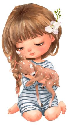 Wall decal nursery watercolor girl with deer, wall decal forest animals, wall decal figurines, wall sticker animals, baby room wall décor Watercolor Girl, Watercolor Animals, Watercolor Paintings, Simple Watercolor, Tattoo Watercolor, Watercolor Trees, Watercolor Techniques, Watercolor Background, Watercolor Landscape