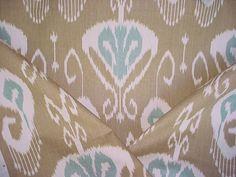 1-1/2 yards Kravet / Echo Bansuri in Bramble - Exotic Printed Ikat Luxury Linen Drapery Upholstery Fabric - Free Shipping