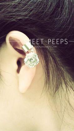Silver Rose Charm Ear Cuff