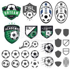 Set of football, soccer emblem design elements royalty-free stock vector art