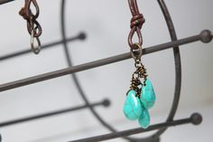 Leather necklace Green turquoise Magnesite by JillianDesigns4u, $23.00