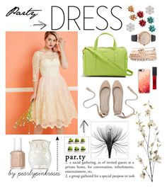 """""""Party Dress"""" by pearlypinkroses ❤ liked on Polyvore featuring Vera Bradley, Jessica Carlyle, Pier 1 Imports, Casetify, Essie, Maybelline and Anne Klein"""