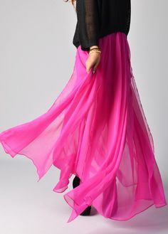 Fuchsia Maxi Skirt // Plastic Island