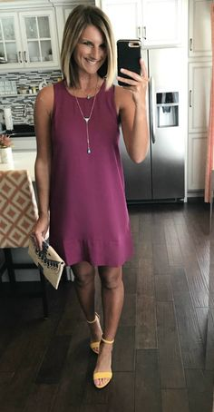 Under $50 shift dress! Perfect for spring dresses, parties, weddings, etc.  A dress that can be fancy or casual! Click on the photo for all of the links to shop!