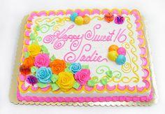 Buttercream Cake Designs, Cupcake Cake Designs, Cake Decorating Designs, Sweet Sixteen Cakes, Sweet 16 Cakes, Flower Cupcake Cake, Cupcake Cakes, Cupcakes, Sheet Cake Designs