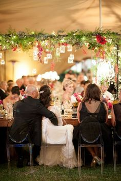 love this romantic arch with greenery and hanging candles! ~  we ❤ this! moncheribridals.com