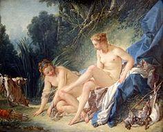 Diana después del bañoo es una pintura al óleo sobre tela (57x73 cm) realizado en 1742 por el pintor francés François Boucher.  Se conserva en el Museo del Louvre de París.  La tela representa a la diosa Diana, reconocible por la corona de perlas, con una joya en forma de media luna, en compañía de una ninfa arrodillada a sus pies.  La diosa está desnuda, sentada sobre sedas que resaltan su tez y el cabello rubio;  la ninfa, a su derecha, e izquierda de la tela, tiene el cabello oscuro, y…