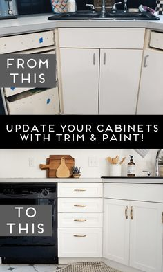 Laminate kitchen cabinets - How to Add Trim and Paint Your Laminate Cabinets – Laminate kitchen cabinets Update Kitchen Cabinets, Diy Cabinets, Updating Cabinets, Kitchen Laminate, Kitchen Reno, Kitchen Counters, Trim On Cabinets, Kitchen Sinks, Kitchen Remodeling