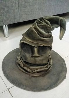 DIY sorting hat from Harry potter. Made using a cheap witches hat from a party store, and lots of courage