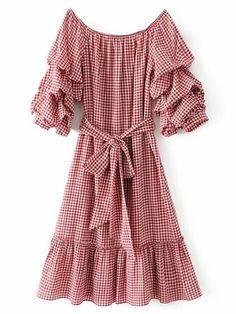 Kleid mit Boot-Ausschnitt, geschichten Ärmeln und Band um die Taille