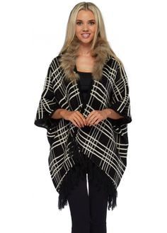 Designer Desirables Black Plaid Poncho With Faux Fur Trimmed Detachable Hood