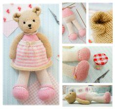 Small TEAROOM Girl Bear...  https://www.etsy.com/uk/listing/384919348/new-girl-bear-knitting-pattern-pdf