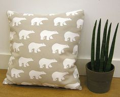 Polar Bear Pillow Cover · Hand screen printed Cotton Cushion · Decorative pillow · Home decor · Kids room