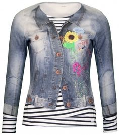 MARC CAIN tshirt longsleeve jeans jacket and top look
