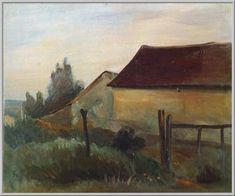 Mario Tozzi: olio su legno 1923 Case di Borgogna.