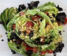 raw lemon and avocado butter lettuce salad