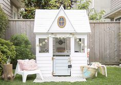 A Costco Playhouse Gets a Charming Scandi Makeover: gallery image 5 Backyard Playset, Backyard Playhouse, Build A Playhouse, Playhouse Ideas, Painted Playhouse, Costco Playhouse, Toddler Playhouse, Cubby Houses, Play Houses