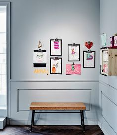 Sometimes our walls can't keep up with each new brontosaurus picture that comes in. With this clipboard display you can frame the kid's creativity in a nice way and also replace them when the next picture arrives.
