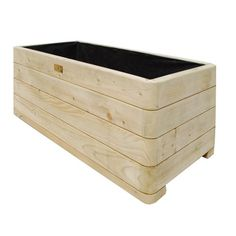 Bosmere PLLY100 Rowlinson Marberry Rectangular Wooden Planter with Liner Natural Timber Finish * Continue to the product at the image link.