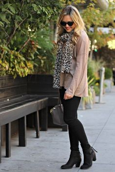 animal print scarf outfit