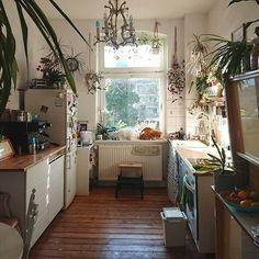 light, plants, and wooden floor Bohemian Kitchen Decor, Kitchen Rustic, Bohemian Decor, Modern Bohemian, Küchen Design, House Design, European Apartment, Dream Apartment, Apartment Kitchen