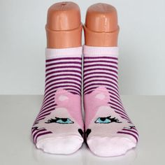 Pink Purple Striped Socks Funny Kitty Cat Socks Animal Sock Love Socks Womens Sock Happy Socks Cotton Socks Ankle Socks Casual Socks ECHERPE