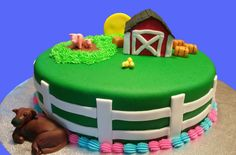 Farm Scene Gender Reveal Cake