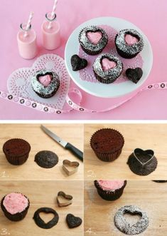 These adorable and creative Sweet Heart Cupcakes are surprisingly simple to make! Impress your guests with these heart cutout cupcakes! Heart Cupcakes, Yummy Cupcakes, Valentine Cupcakes, Icing Cupcakes, Filled Cupcakes, Valentine Treats, Valentine Heart, Chocolate Cupcakes, Simple Cupcakes