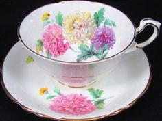 PARAGON PASTEL PINK BLUE CHRYSANTHEMUM TEA CUP AND SAUCER