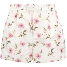 Redvalentino Watercolor Daisy Print Faille Shorts (€210) ❤ liked on Polyvore featuring shorts, bottoms, skirts, pants, zipper shorts, floral print shorts, red valentino, short shorts and floral printed shorts