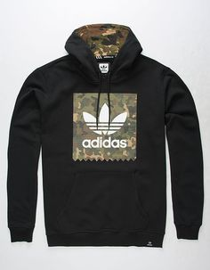 Adidas Blackbird Camo fleece pullover hoodie. Ripstop camouflage print logo screened on front. Kangaroo pocket. Long sleeve. Drawstring hood with ripstop camouflage print contrast lining. Ribbed cuffs. Ribbed hem with tag. 70% cotton/30% polyester. Machine wash. Imported.