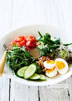 Clean Bowl   This is a wonderful breakfast for those who've been eating some less than nourishing foods or just missing out on your greens. In the Real Food Chef I encouraged you to turn convention on its head and incorporate vegetables into your breakfast. Enjoy the alkalising qualities of green vegetables combined with the gorgeous dressing. Absolutely delicious for breakfast or at anytime of the day.   www.drlibby.com