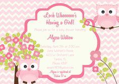 Owl Baby Shower Invitation - Custom Chevron - Owl Invitation - Personalized -DIY Printing