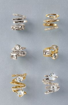 Ariella Collection Slim Stackable Rings (Set of 5) | Nordstrom