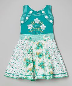 Look what I found on #zulily! Green & White Floral Panel Dress - Toddler & Girls by Roberto Toscani #zulilyfinds