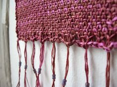 Knit altar cloth with beaded fringe mini size for by Moonthrall, $24.00