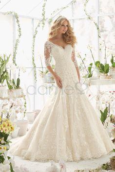 V-Ausschnitt Keine Taille Raglanärmel Spitze Brautkleid