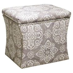 Check out this item at One Kings Lane! Hepburn Storage Ottoman, Gray/White