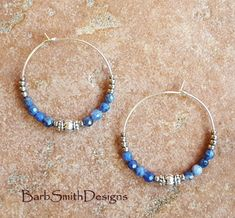 Blue beaded 1 3/8 silver plated hoop earrings in Sodalite #bluebeadedearrings #beadedearrings #beadedhoops