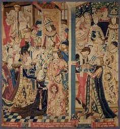 """Queen Esther and King Ahasuerus""  1460 - 1470  Wool and silk  In typical medieval style, events occurring at different times are shown together. This tapestry is a fragment from the center of a larger piece that had at least three major scenes and several smaller ones."